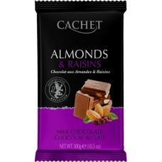 """Шоколад """"Cachet"""" Milk Chocolate with Almonds & Raisins 32% Cocoa"""