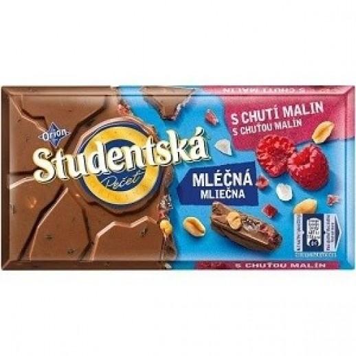 Молочный шоколад с малиной и арахисом Studentska